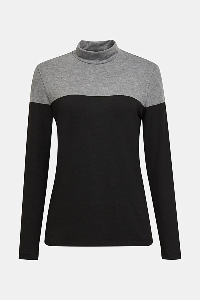 Recycled: Colour block long sleeve top with a stand-up collar, BLACK, detail image number 5