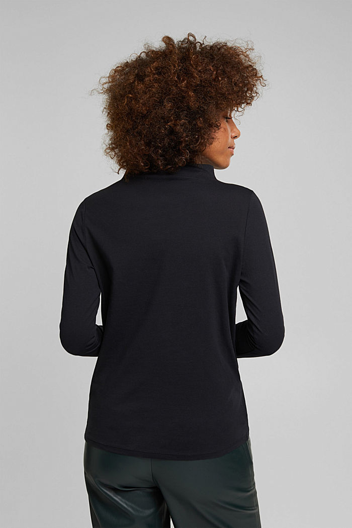Long sleeve top with band colour made of 100% cotton, BLACK, detail image number 3