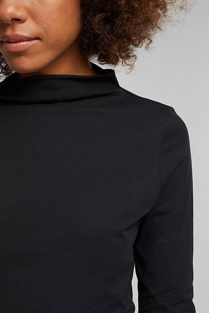 Long sleeve top with band colour made of 100% cotton, BLACK, detail image number 2