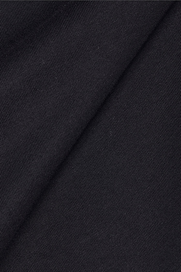 Long sleeve top with band colour made of 100% cotton, BLACK, detail image number 4