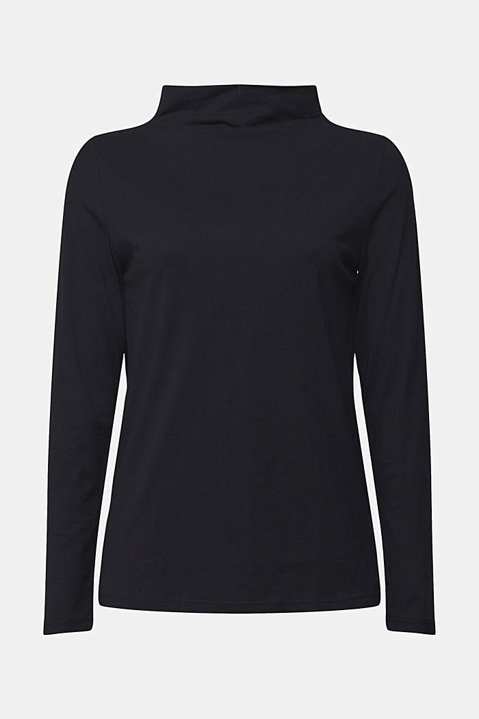 Long sleeve top with band colour made of 100% cotton, BLACK, detail image number 5