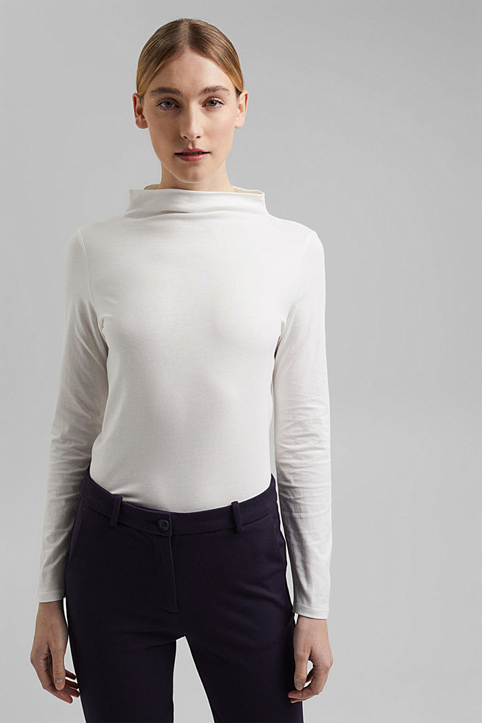 Long sleeve top with band colour made of 100% cotton, OFF WHITE, detail image number 0