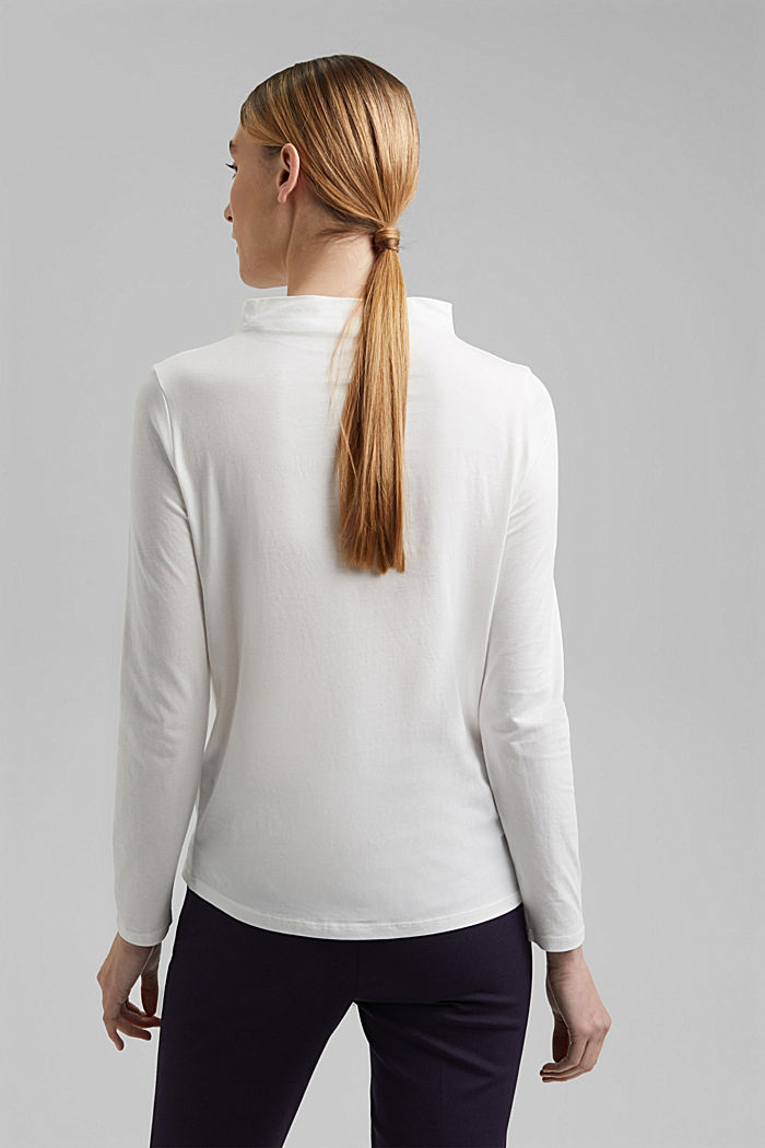 Long sleeve top with band colour made of 100% cotton, OFF WHITE, detail image number 3