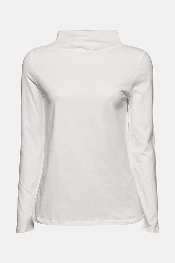 Long sleeve top with band colour made of 100% cotton, OFF WHITE, detail image number 7