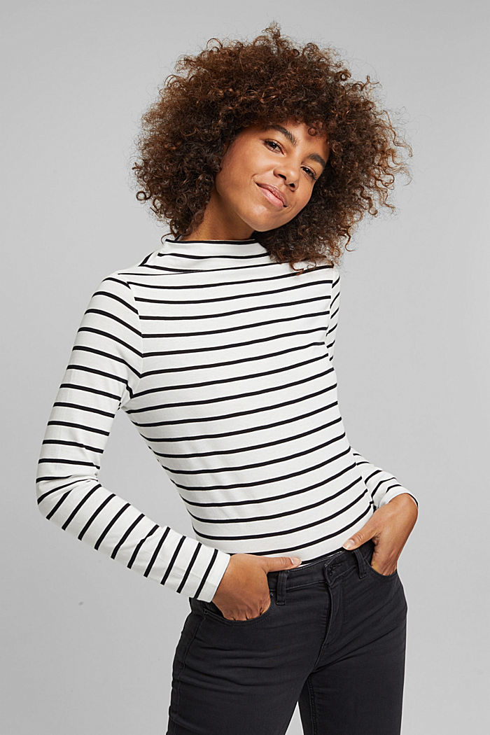 Long sleeve top with band colour made of 100% cotton