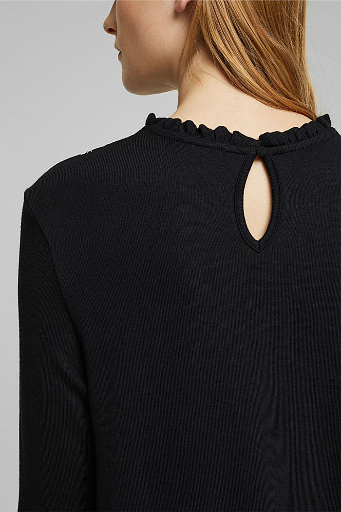 Material-Mix Shirt mit LENZING™ ECOVERO™, NEW BLACK, detail image number 6