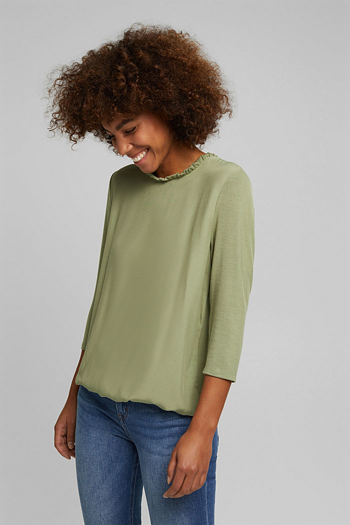 Mixed material top featuring LENZING™ ECOVERO™, LIGHT KHAKI, detail image number 0