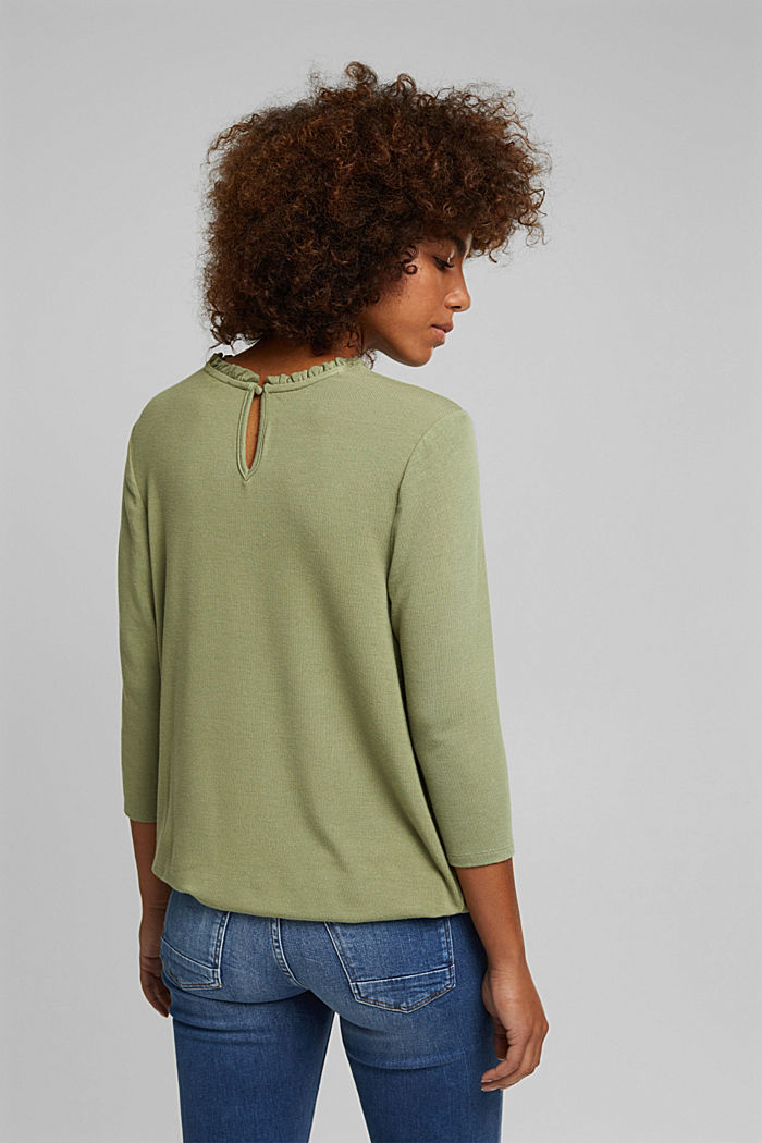 Mixed material top featuring LENZING™ ECOVERO™, LIGHT KHAKI, detail image number 3
