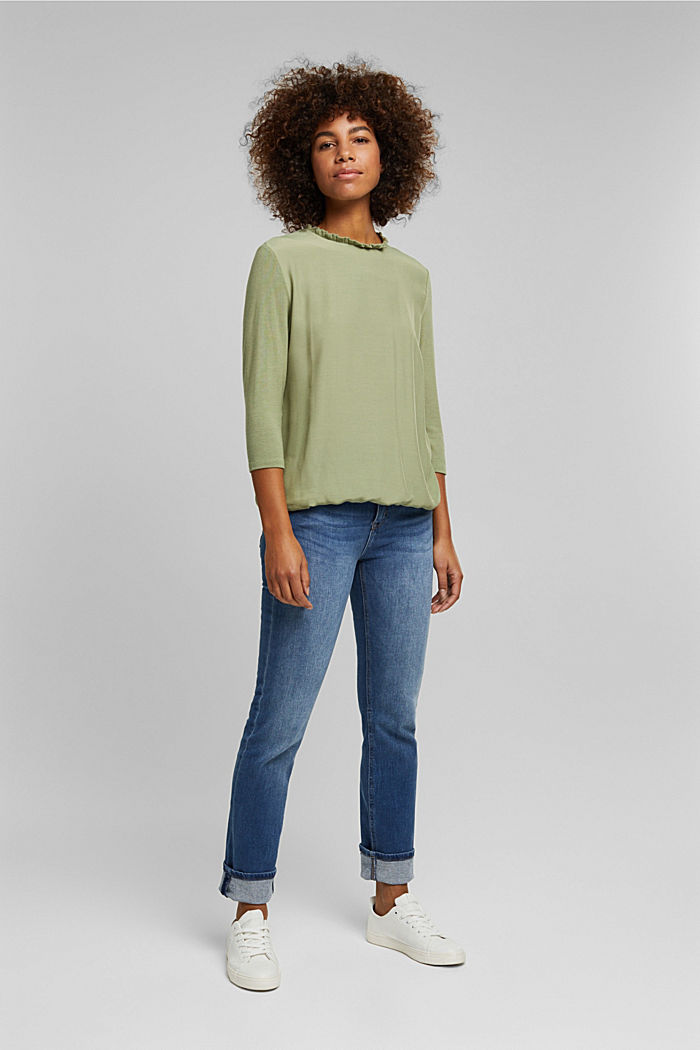 Mixed material top featuring LENZING™ ECOVERO™, LIGHT KHAKI, detail image number 6