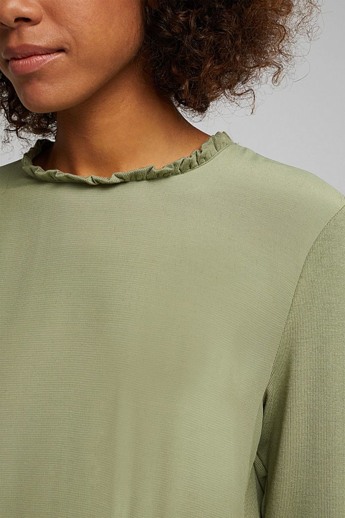 Mixed material top featuring LENZING™ ECOVERO™, LIGHT KHAKI, detail image number 2