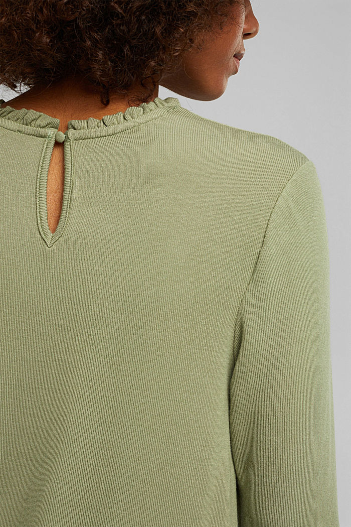Mixed material top featuring LENZING™ ECOVERO™, LIGHT KHAKI, detail image number 5