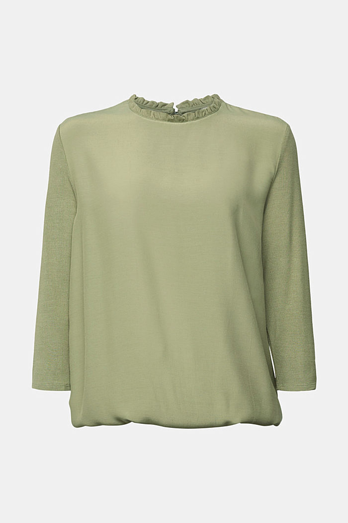 Mixed material top featuring LENZING™ ECOVERO™, LIGHT KHAKI, detail image number 7
