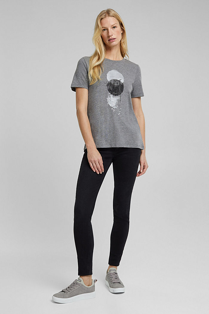 Organic cotton top with LENZING™ ECOVERO™, GUNMETAL, detail image number 6