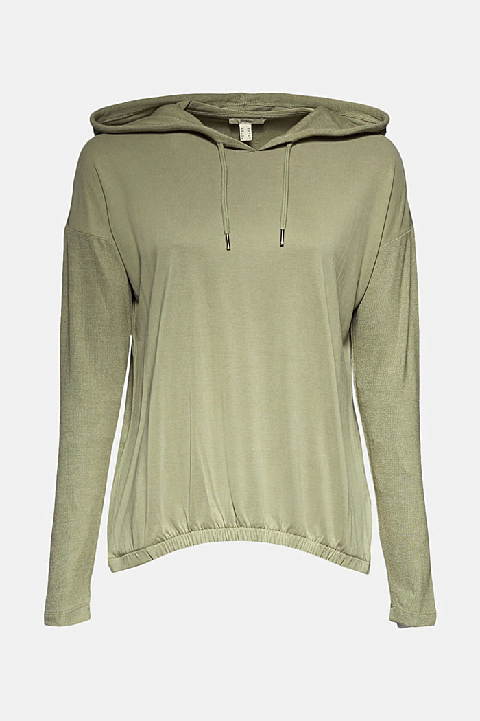 Hoodie with LENZING™ ECOVERO™, LIGHT KHAKI, overview