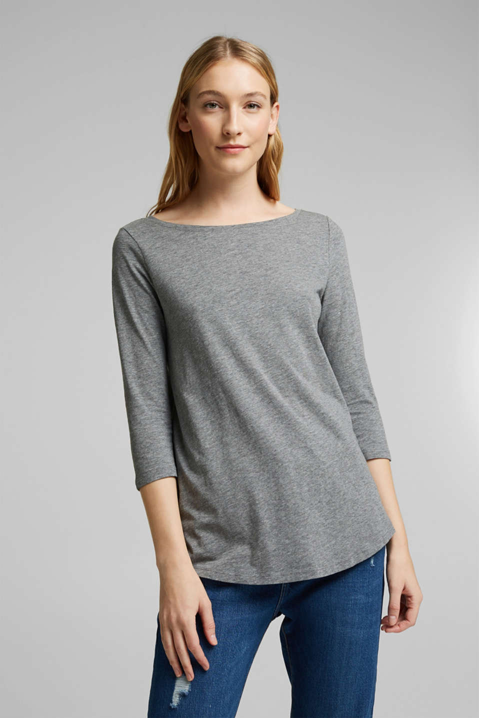 Esprit - Organic cotton long sleeve top with LENZING™ ECOVERO™