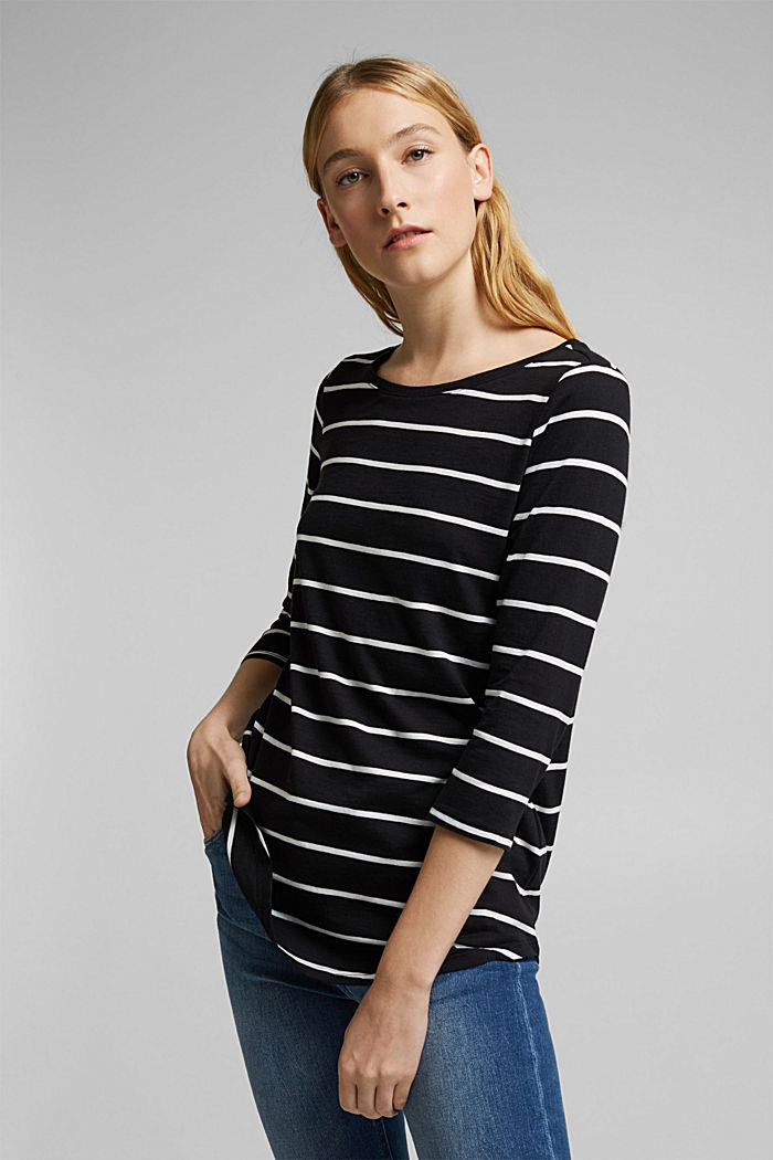 Striped top made of organic cotton and TENCEL™, BLACK, detail image number 0