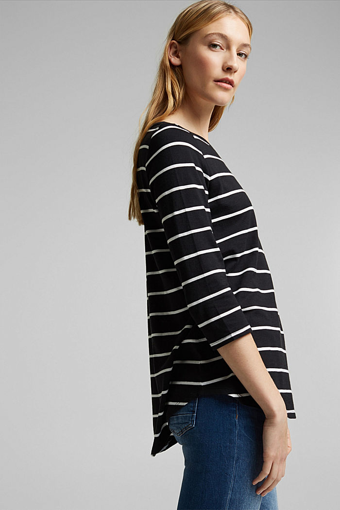 Striped top made of organic cotton and TENCEL™, BLACK, detail image number 5