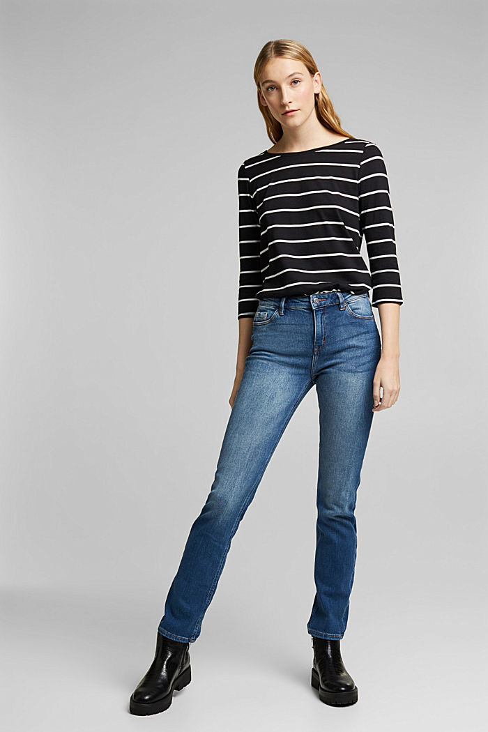 Striped top made of organic cotton and TENCEL™, BLACK, detail image number 1