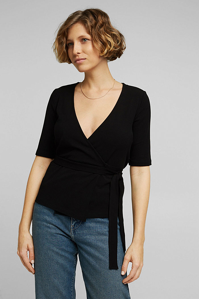 Wrap-over top made of ribbed jersey
