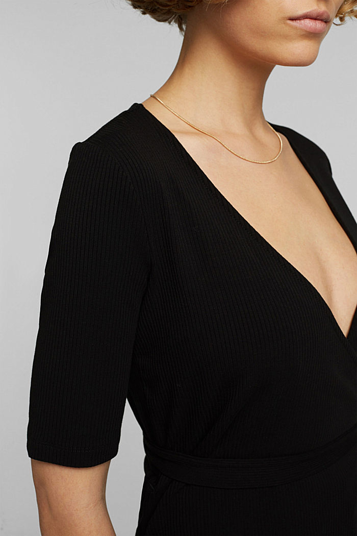 Wrap-over top made of ribbed jersey, BLACK, detail image number 2