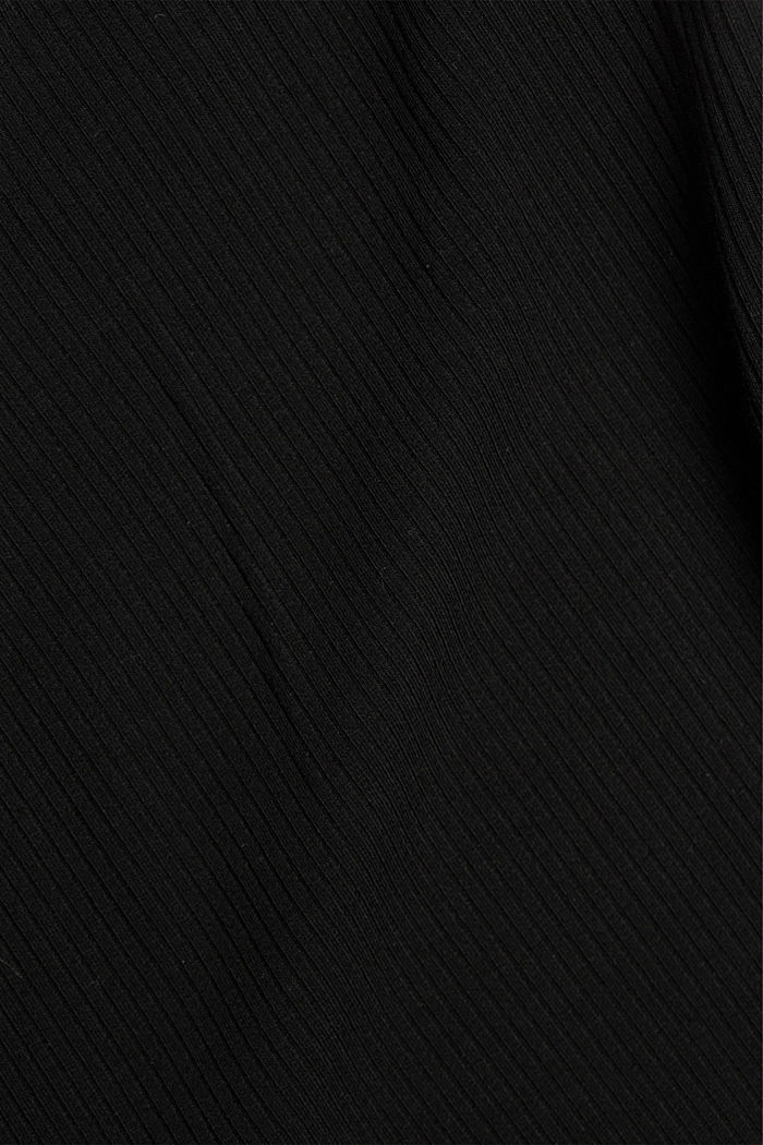 Wrap-over top made of ribbed jersey, BLACK, detail image number 4