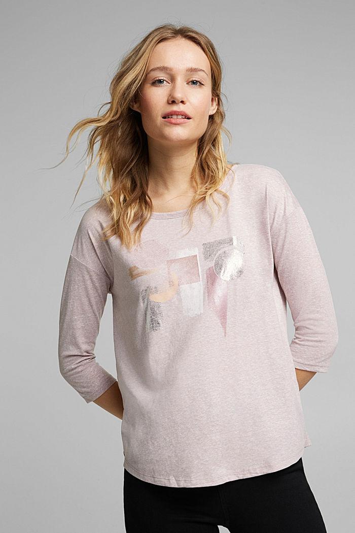 Melange print top with organic cotton, PASTEL PINK, detail image number 0