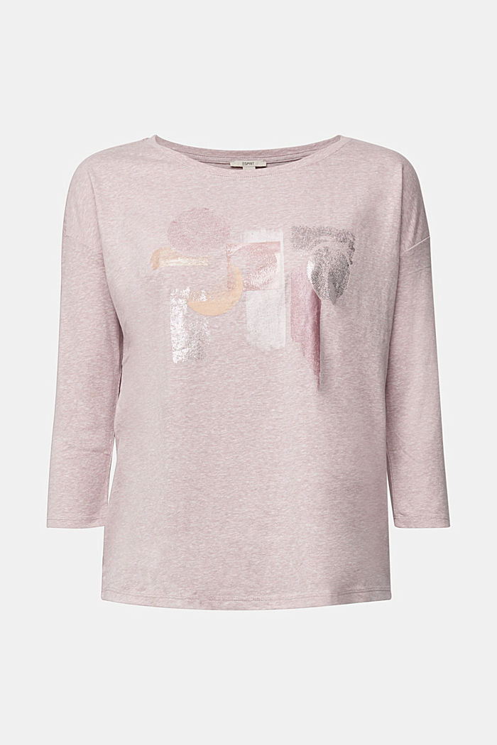 Melange print top with organic cotton, PASTEL PINK, detail image number 7