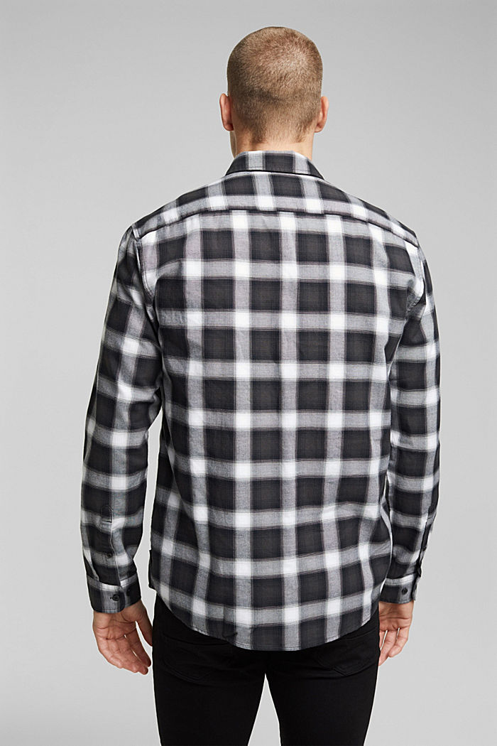 Recycled: Check shirt in blended cotton, BLACK, detail image number 3
