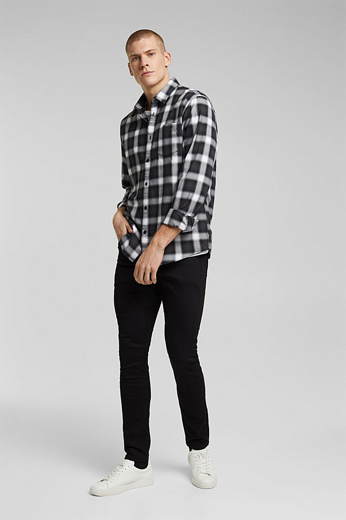 Recycled: Check shirt in blended cotton, BLACK, detail image number 5
