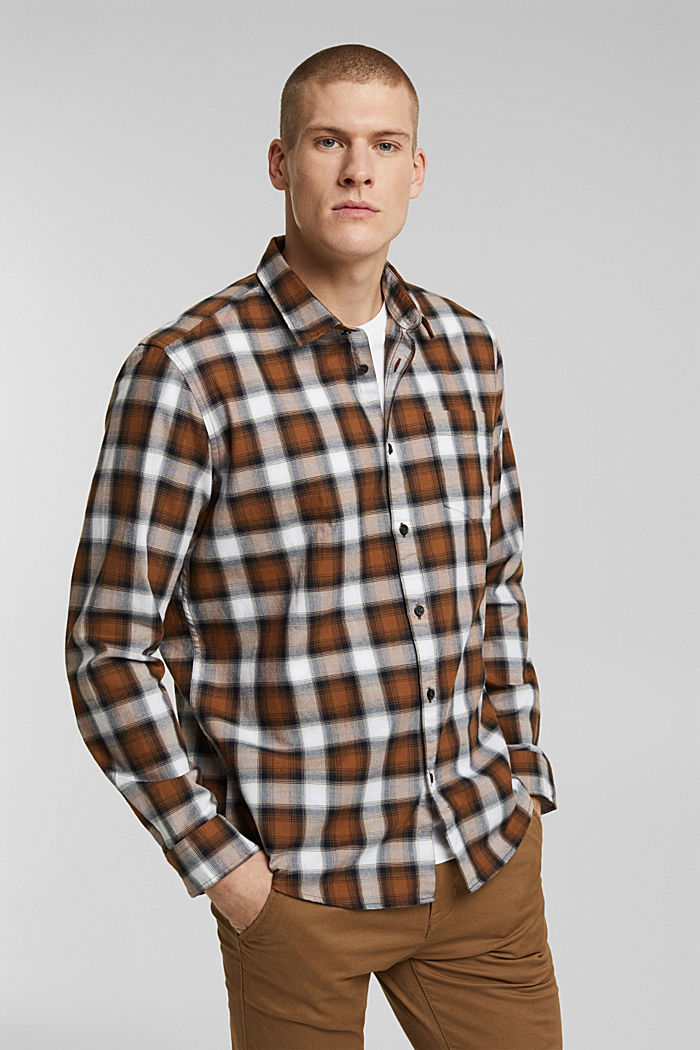Recycled: Check shirt in blended cotton, CAMEL, overview