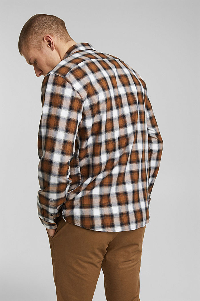 Recycled: Check shirt in blended cotton, CAMEL, detail image number 3