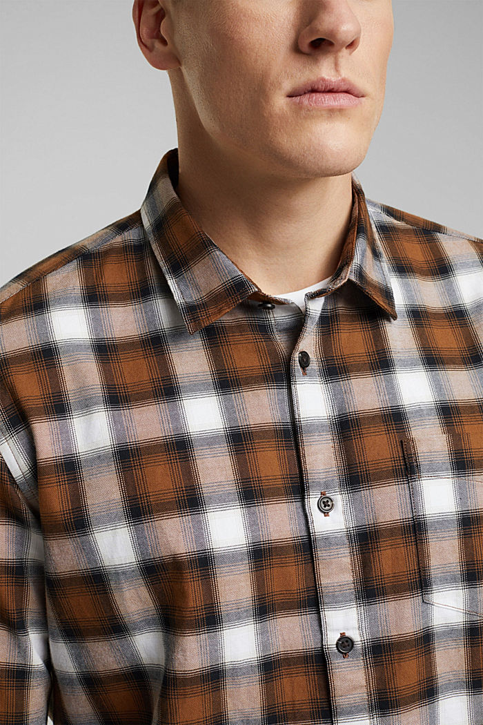 Recycled: Check shirt in blended cotton, CAMEL, detail image number 2