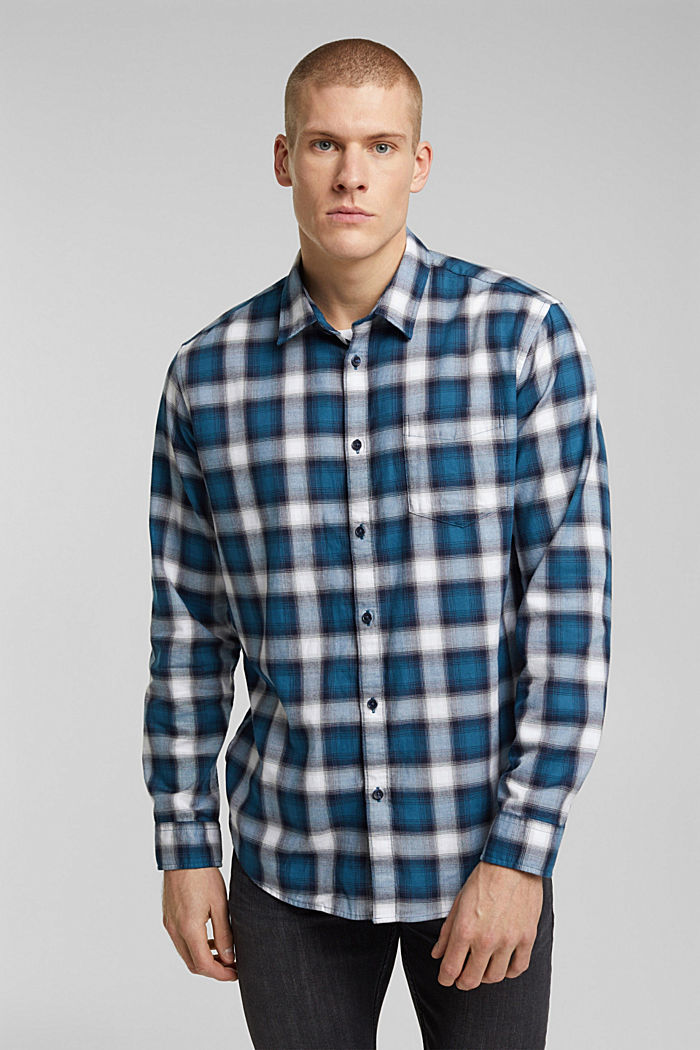 Recycled: Check shirt in blended cotton
