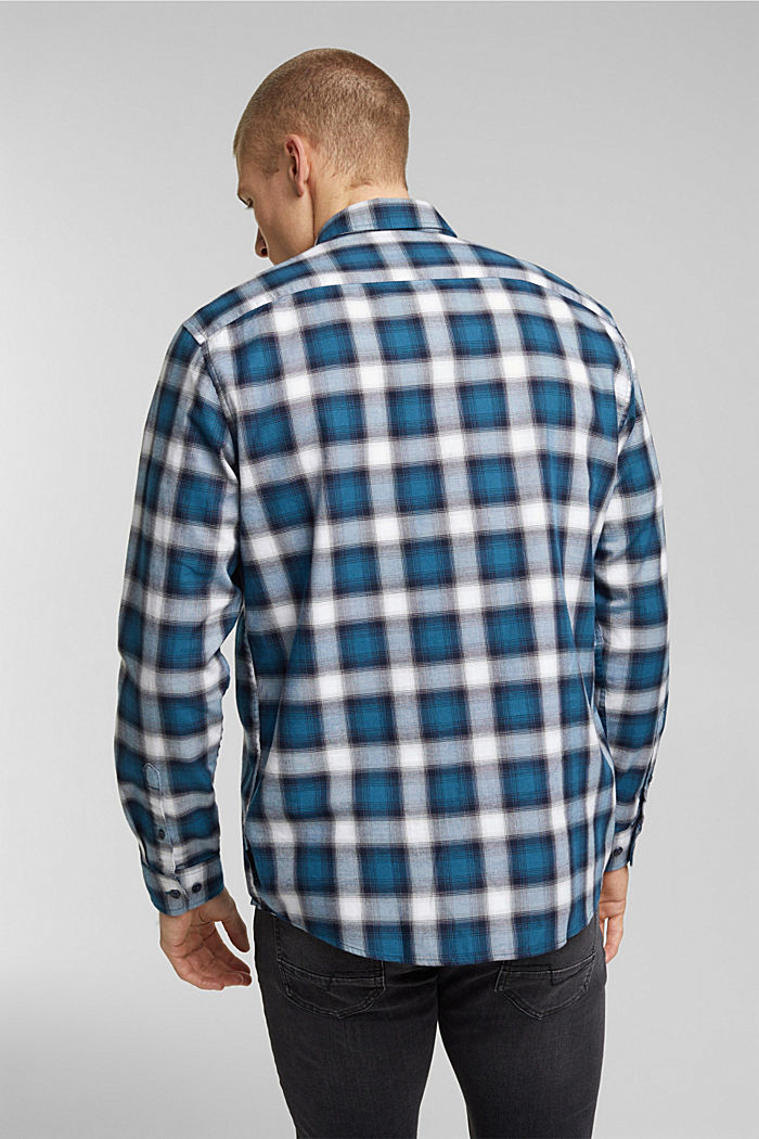 Recycled: Check shirt in blended cotton, TEAL BLUE, detail image number 3