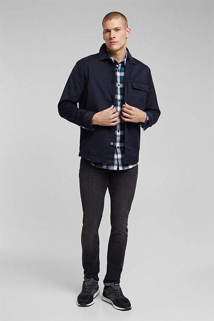 Recycled: Check shirt in blended cotton, TEAL BLUE, detail image number 1