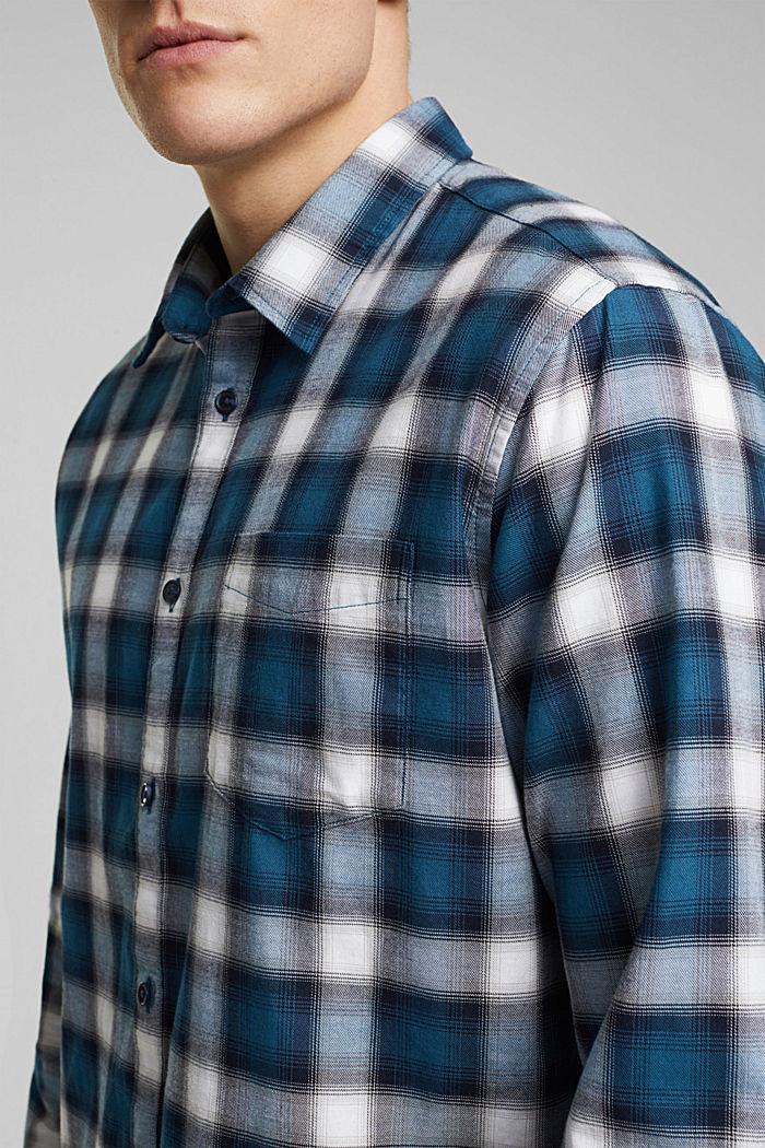 Recycled: Check shirt in blended cotton, TEAL BLUE, detail image number 2