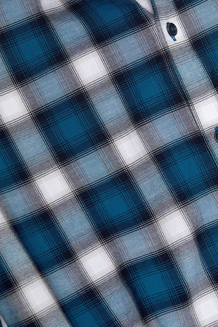 Recycled: Check shirt in blended cotton, TEAL BLUE, detail image number 4