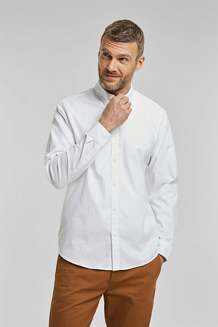 Stretch cotton button-down shirt, WHITE, detail image number 0