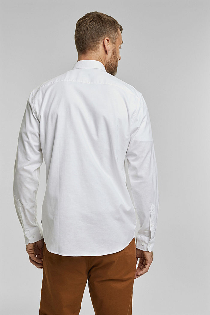 Stretch cotton button-down shirt, WHITE, detail image number 3