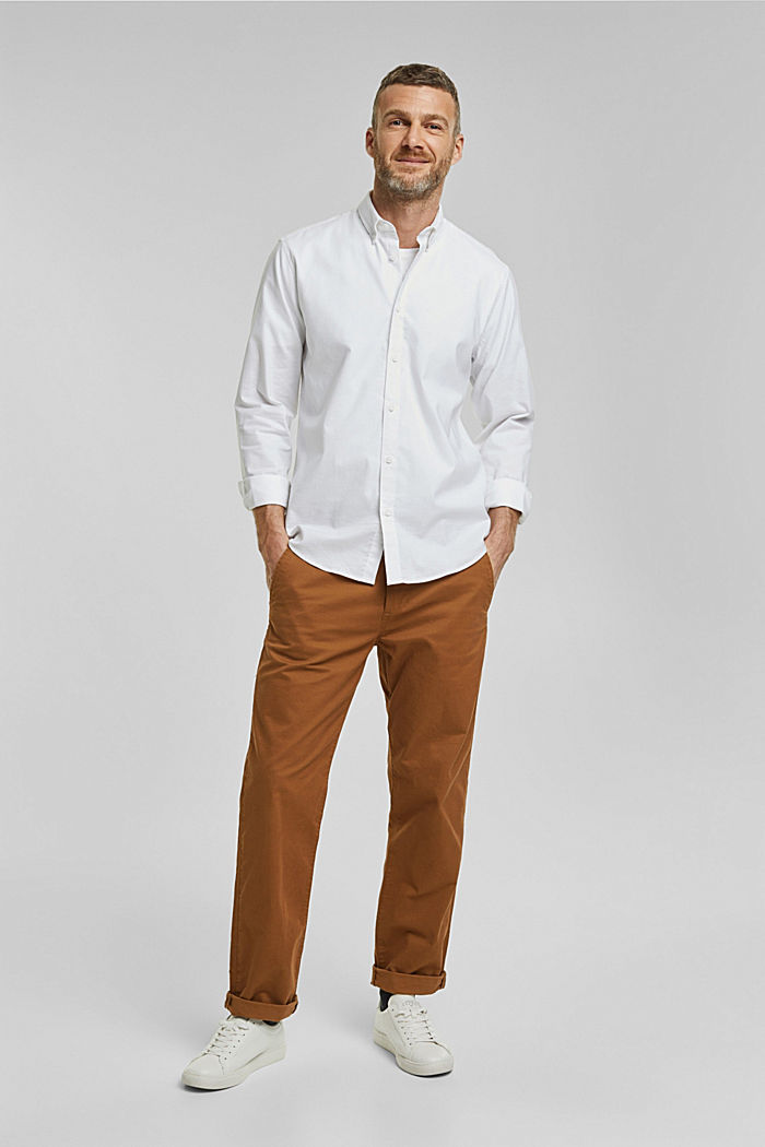 Stretch cotton button-down shirt, WHITE, detail image number 5