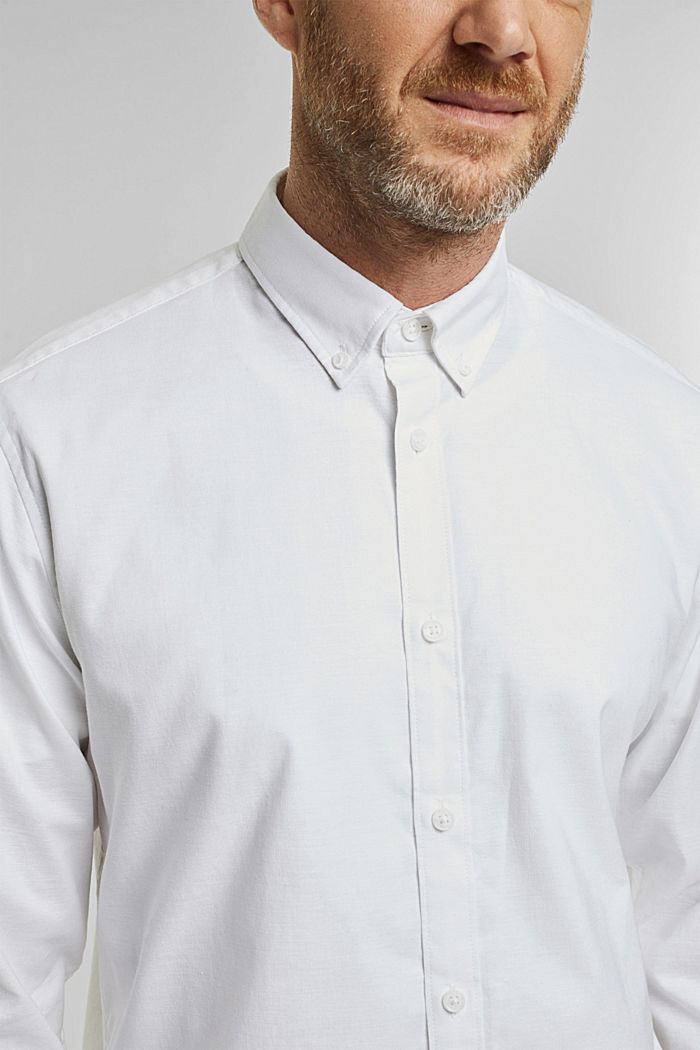 Stretch cotton button-down shirt, WHITE, detail image number 2