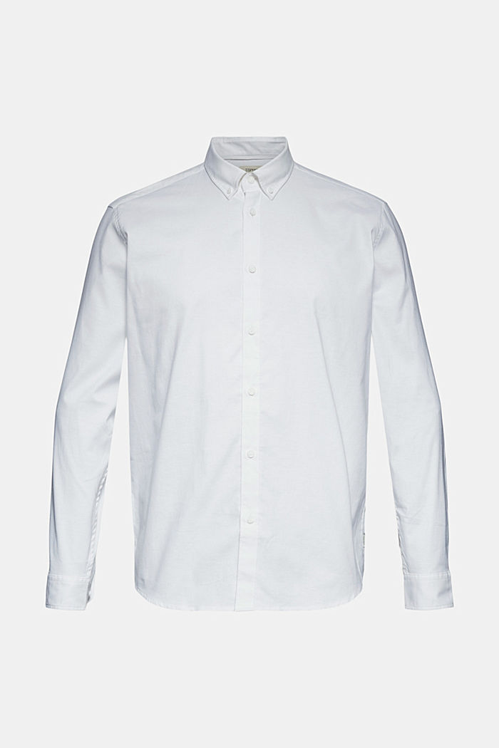 Stretch cotton button-down shirt, WHITE, detail image number 6