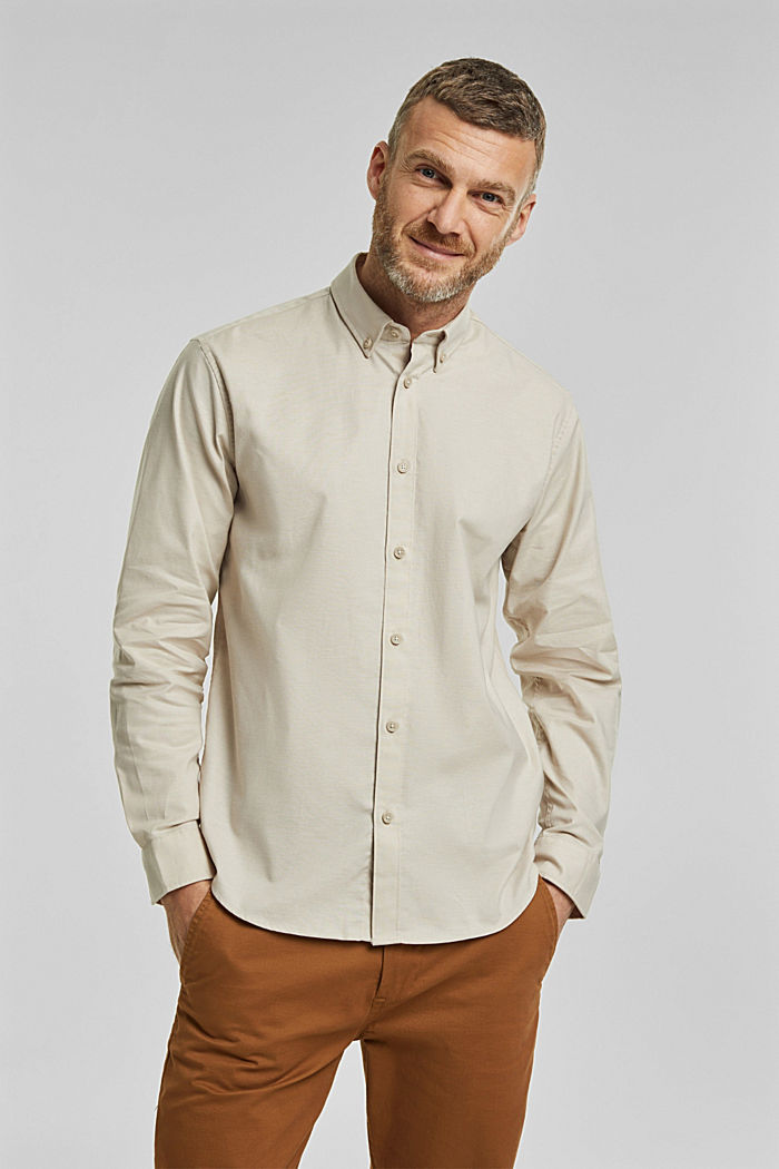 Stretch cotton button-down shirt, SAND, detail image number 0