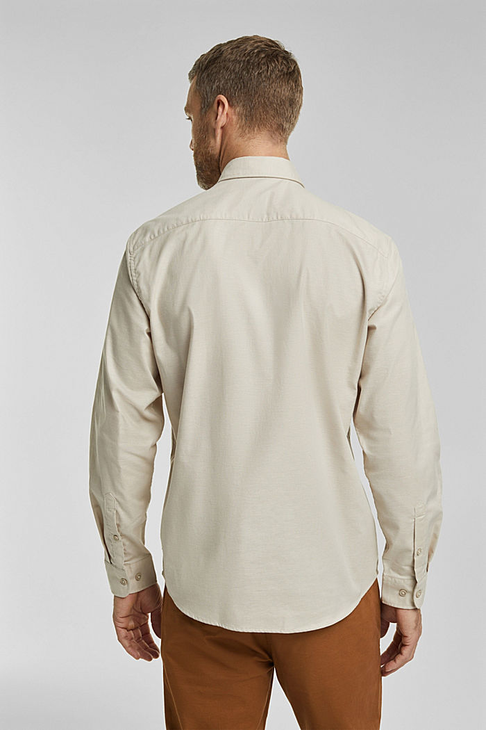 Stretch cotton button-down shirt, SAND, detail image number 3