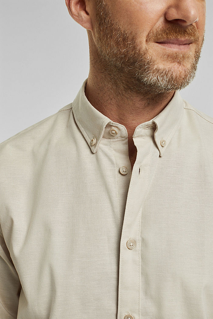 Stretch cotton button-down shirt, SAND, detail image number 2