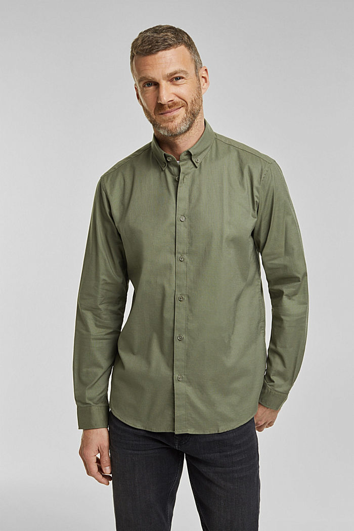 Stretch cotton button-down shirt, KHAKI GREEN, detail image number 0