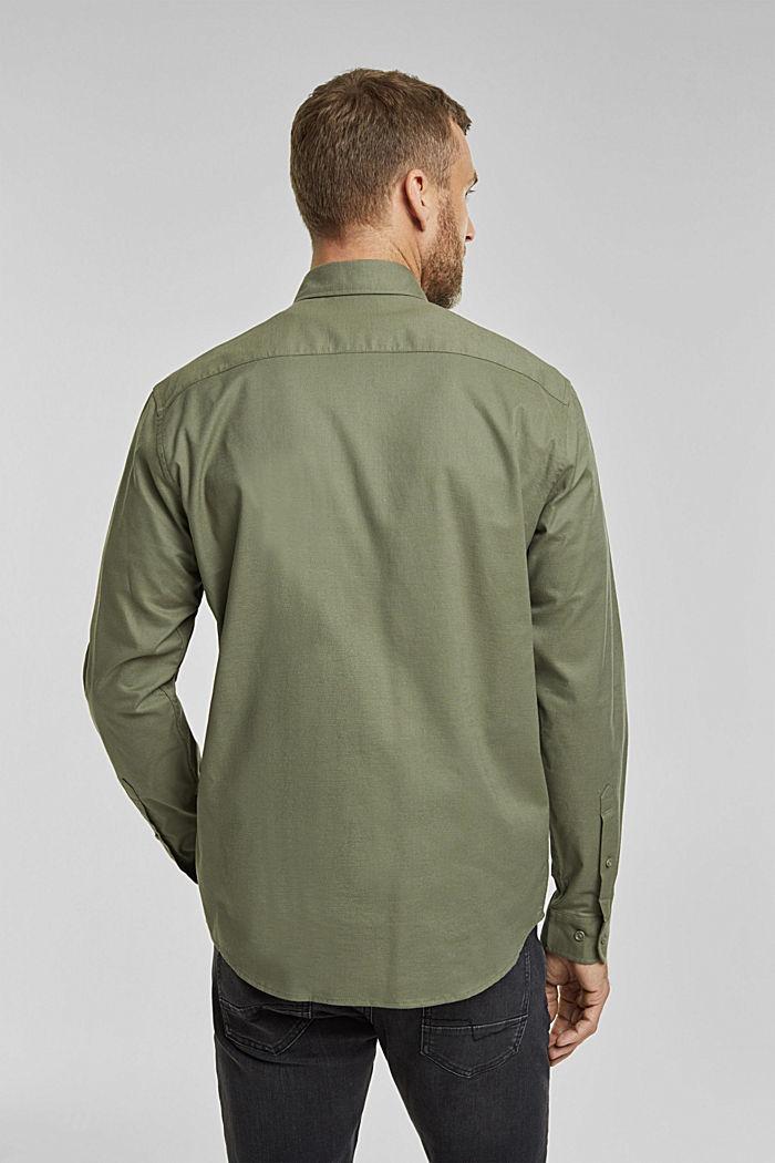 Stretch cotton button-down shirt, KHAKI GREEN, detail image number 3
