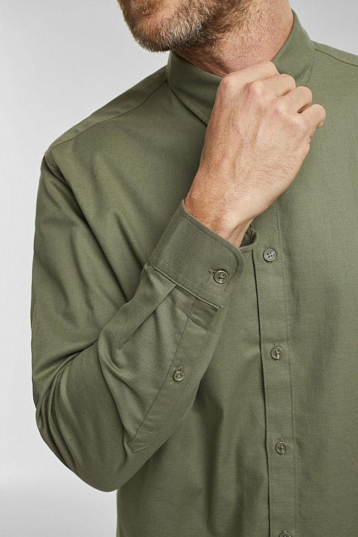 Stretch cotton button-down shirt, KHAKI GREEN, detail image number 2