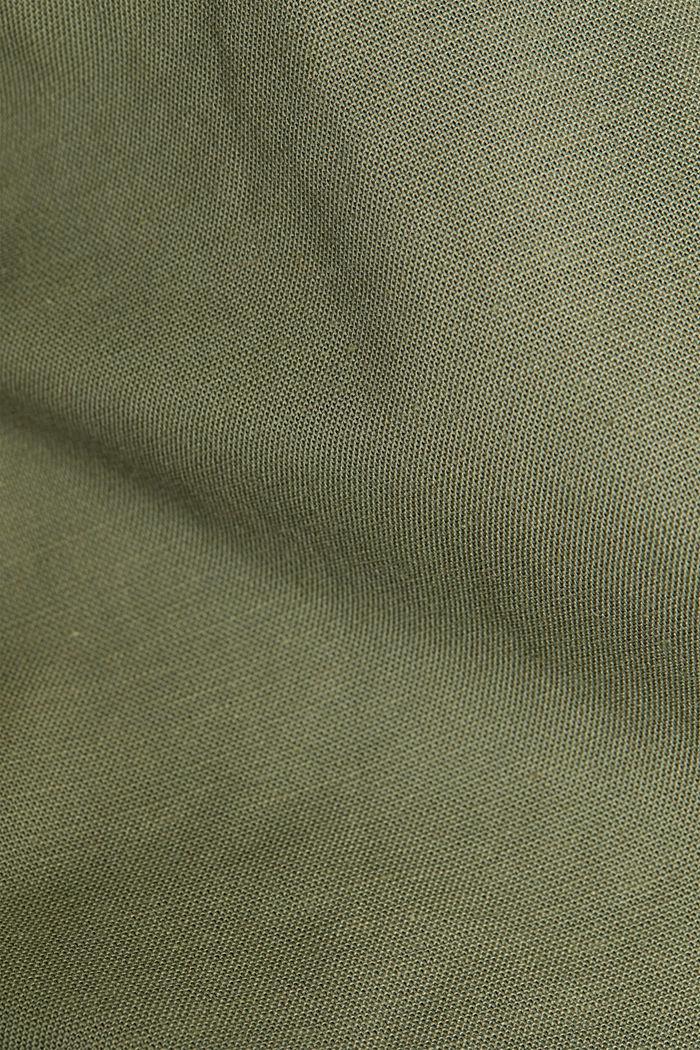 Stretch cotton button-down shirt, KHAKI GREEN, detail image number 4