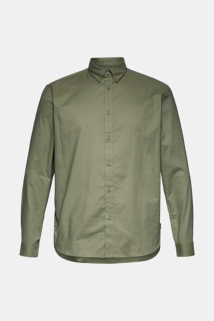 Stretch cotton button-down shirt, KHAKI GREEN, detail image number 5